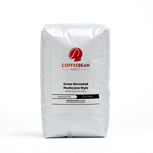 Green Unroasted Mocha Java Style, Whole Bean Coffee, 5-Pound Bag