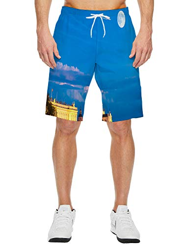 - Queen Area Madrid Nightscape Men's Swimming Trunks with Pockets Beach Swimwear Quick Dry Elastic Waist Board Shorts