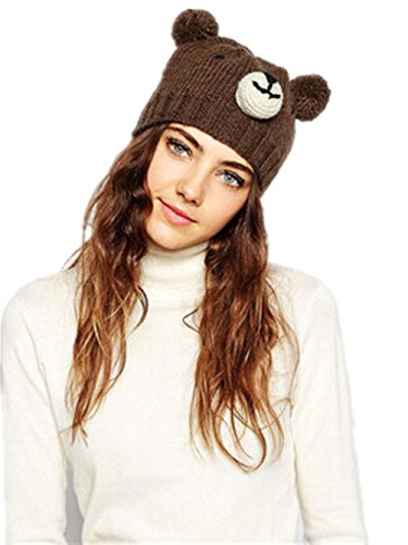 Feeson Women Cute Bear Knitted Ear Warm Wool Winter Beanie Pom Pom Hats