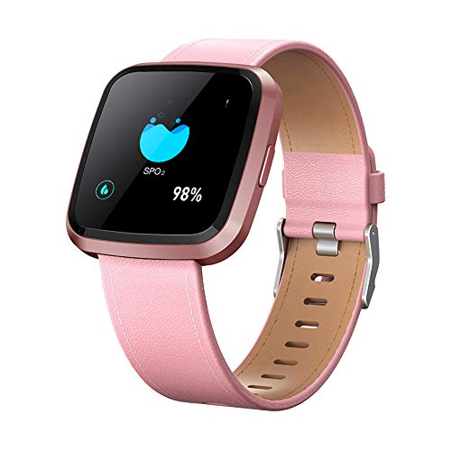 V12 Health Smartwatch Professional Heart Rate Monitor / Medical Level SpO2 Detecting / Fitness Activity Tracker / Touch Screen IP67 Waterproof Sports Smart Watch Compare for Android& iOS phones (Pink)