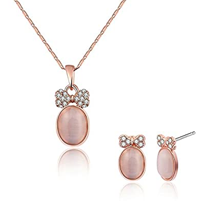 Hot Womens Jewelry Set Gold Plated Necklace and Earrings Set Pink Bowknot Oval Stone CZ Wedding Gift Adisaer