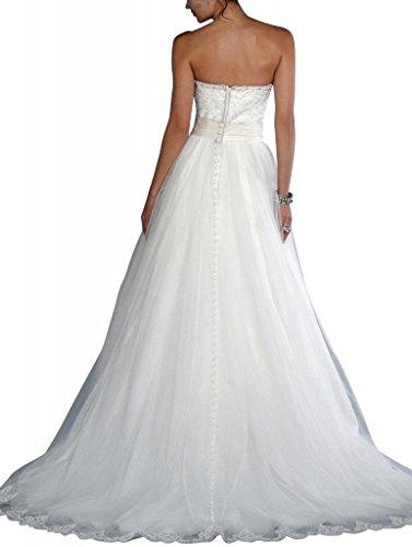 Rock Tulle Ballkleid mit Rock BRIDE Brautkleider Weiß Spitze gestickter Hochzeitskleider Schatz GEORGE qEtOF