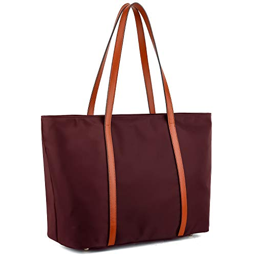 YALUXE Tote for Women Leather Nylon Shoulder Bag Women's Oxford Nylon Large Capacity Work fit 15.6 inch brown&red (Leather Laptop Bag Tote Handbag)