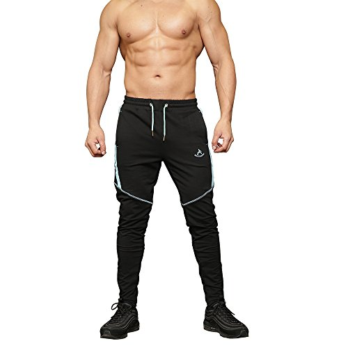 MAIKANONG Men's Slim Fit Jogger Pants with Zipper Pockets and Cuff Zippers Workout Sports Running Gym Sports Sky -