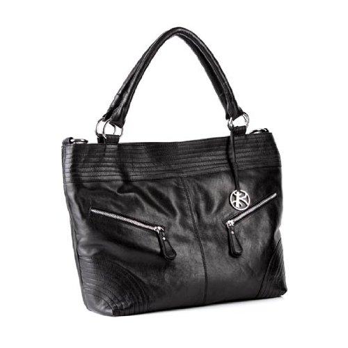 BACCINI bolso de hombro HALLE - piel genuina negro - cartera - bolso de asas (37 x 33 x 10 cm)