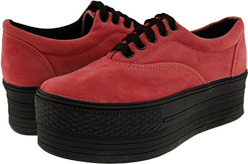 Pink 5 6 Holes C50 Sneakers Boat Top Platform Women Low Shoes Maxstar Suede US 5wvBxO4