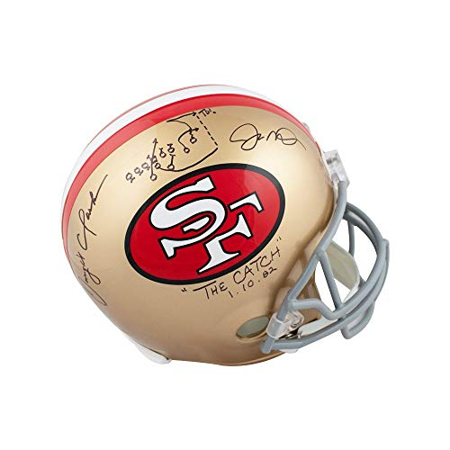 Montana and Clarke The Catch Autographed 49ers Full-Size Football Helmet - BAS