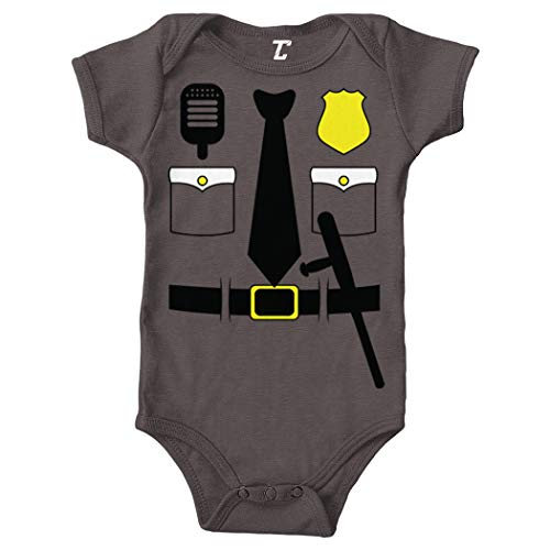 Detective Baton - Cop Costume - Police Officer Trooper Bodysuit (Charcoal, 18 Months)