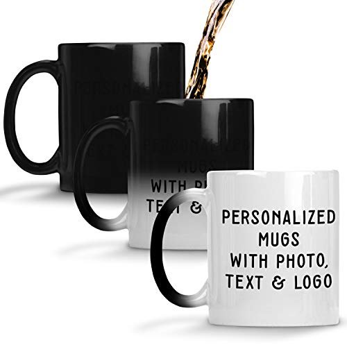 - Customizable Mug - Color Changing Coffee Mug Personalized- ADD Photo, Logo, or Text to Custom Mugs, Ceramic, Tazas Personalizadas, Monogram Novelty Mug, Great Gift Idea