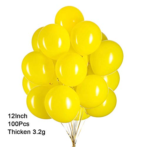 GAKA 12 inch Yellow Balloons Helium Balloons Quality Yellow Latex Balloons Party Decorations Supplies Pack of 100,3.2g/pcs