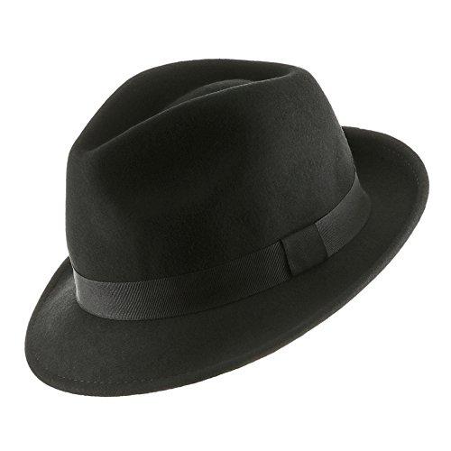 p Brim Fedora Hat BLACK 7 3/8 (Rabbit Felt Hat)