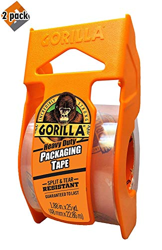 "Gorilla Heavy Duty Packing Tape with Dispenser for Moving, Shipping and Storage, 1.88"" x 25 yd, Clear, (Pack of 2)"