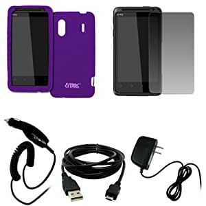 EMPIRE Purple Silicone Skin Case Cover + Screen Protector + Car Charger (CLA) + Home Wall Charger + USB Data Cable for Sprint HTC EVO Design 4G