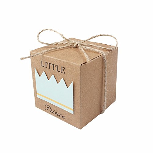 (iMagitek 50 Pcs Baby Shower Favor Boxes + 50 Pcs Twine Bow for Little Prince, Candy Box Gift Bag for Baby Shower, Baby Boys Birthday)