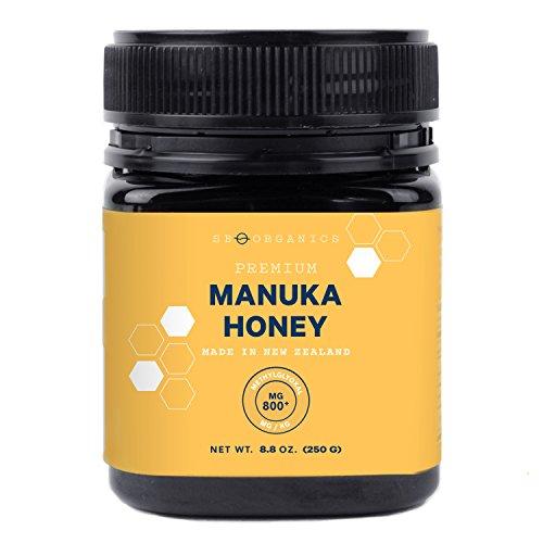 SB Organics MGO 800+ Raw Manuka Honey - Authentic Medicinal Grade Premium Certified New Zealand Honey  Non-GMO, Halal, Additive-Free, Quality Honey  8.8 Ounces