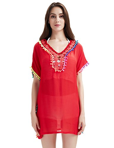 Ferand Damen Gehäkeltes Sommer Strandkleid mit Spitze und Pompons Bikini Badeanzug Cover Up für Frauen Rot D23puxYZdI