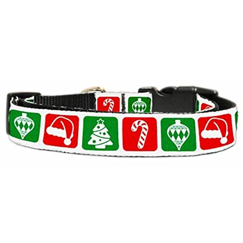 Collar Pet Christmas Dog Ribbon (Mirage Pet Products 25-23 MD Timeless Christmas Nylon Ribbon Dog Collar, Medium)