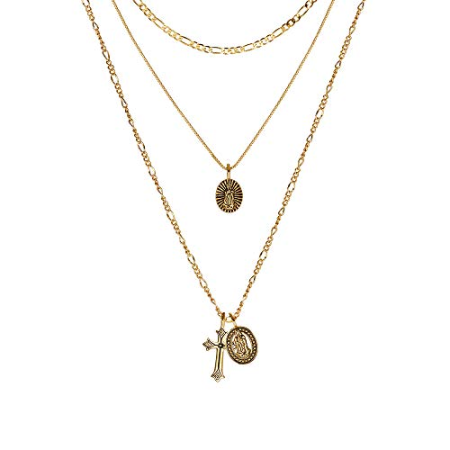 ACC PLANET Gold Cross Pendant Necklace 14K 18K Gold Plated Figaro Box Chain Choker Valentine's Day Couples Gifts Vintage Layered Necklace for Women (14K Gold Plated Necklace)