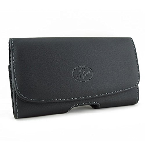 Cell Phone Case for Sony Ericsson K770 Black Leather Look Horizontal Stylish Luxury Pouch Bag with Belt ()