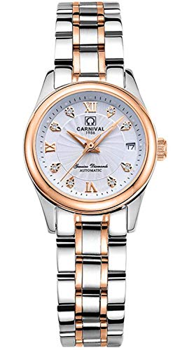 Automatic Watch Fashion Women's Analog Watches Stainless Steel Link Waterproof Ladies Luxury Dress Watch