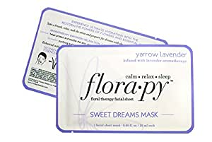 Aromatherapy Facial Sheet Mask - Hydrating - Essential Oils - Sweet Dreams Yarrow Lavender (Single) by Florapy Beauty