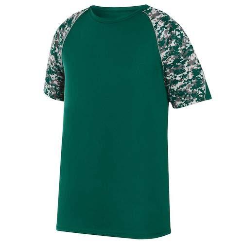 (Augusta Sportswear Boys' Color Block Digi Camo Jrsy L Dark Green/Dark Green)