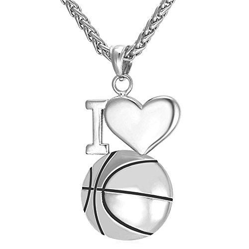 U7 Personalized Basketball Necklace Chain Pendant Stainless Steel Sport Jewelry Ladies Personalized Basketball