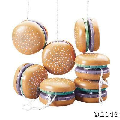 Fun Express Hamburger Yo Yos (Set of 12) Party Favors: Toys & Games