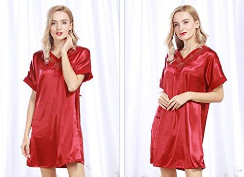 ZC&J Damas pijamas de primavera y verano ropa de casa pijama de seda de imitación noble manga corta Falda de sueño,Camel,one size Red wine
