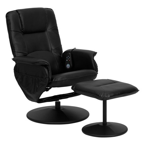 Offex OFX-84119-FF Hallway Massaging Leather Recliner and Ottoman - Black