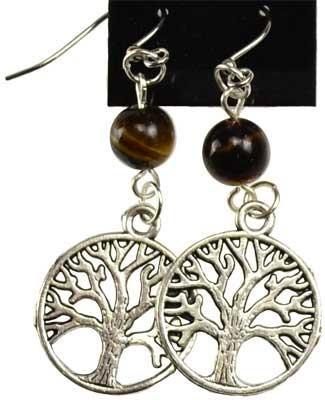Tiger Tigers Eye Earrings - Tigers Eye Tree Of Life Earrings