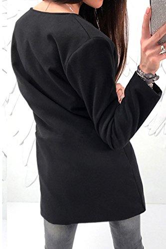 Elegante Con Chaqueta Bolsillos La Black Full Scoop Redondo Otoño Larga Zip Mujer Es Up Cuello EaHaB