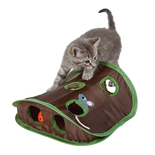 YunZyun Cat Tunnel Pet Cat Mice Game Tunnel Intelligence Toy Tunnel with Bell Play Tent with 9 Hole for Pet Cat Playing (Brown)