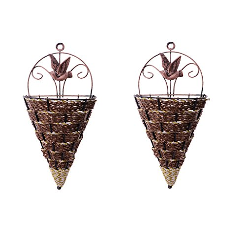 Fenteer 2Pcs Hanging Cone Vase Plant Planter Flower Basket for Home Yard Wedding Decor, Wall Mounted
