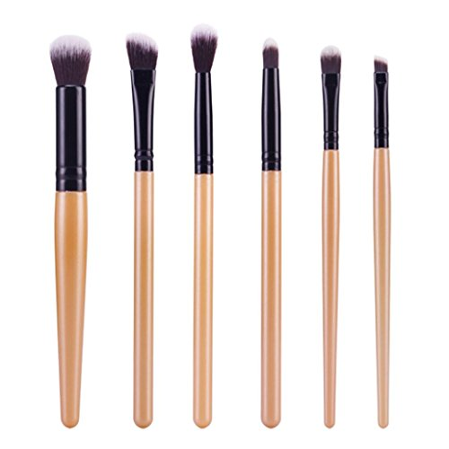 Auwer 6Pcs Cosmetic Brush, Makeup Brush Sets Kits Tools Foundation Powder Cream Eyebrow Eyeliner Blush Cosmetic Concealer Brush (Black)