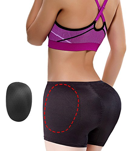 Gotoly Curves Shapers Butt Lifter Control Panties Enhancer Push Up Boy Shorts (XXXX-Large, Black(Butt Booster ))