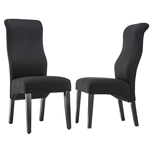 Andeworld Set of 2 Upholstered Dining Chairs High Back Padded Kitchen Chairs with Wood Legs Black (black/blue/grey)