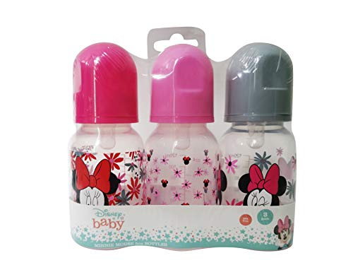 Cudlie Disney Baby Boy Minnie Mouse 5 oz Pack of Three Baby Bottles in Tropic Floral