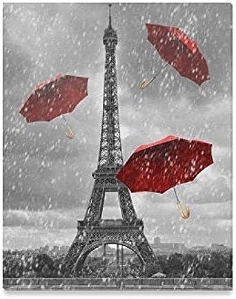 PARIS EIFFEL  RED UMBRELLA  RAIN  WALL ART PICTURE PRINT ON FRAMED CANVAS DECOR