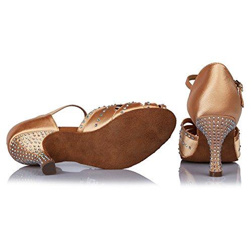ballo Beige Scarpe del da raso latino Ballroom AF 435 standard Donna SWDZM Rhinestone Model xgRqtt