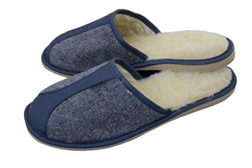 Navy Mens Wool Mules Slippers Natleat Felt Slippers Virgin Natural Blue wool UqP8Pw