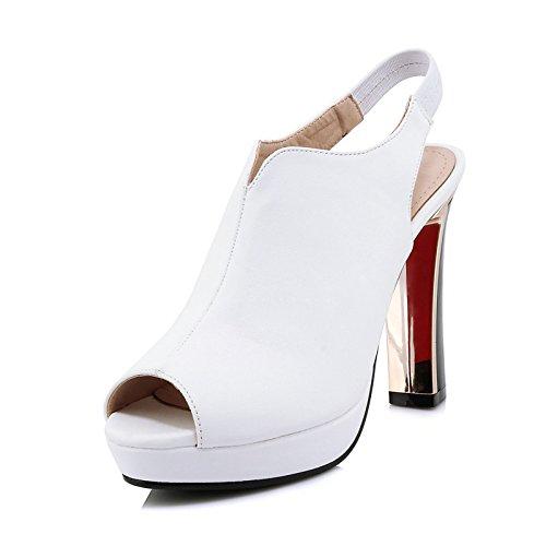 ZHZNVX Zapatos de mujer microfibra bomba básica Primavera Verano sandalias Stiletto talón para Boda,noche Blanco Negro Rojo White