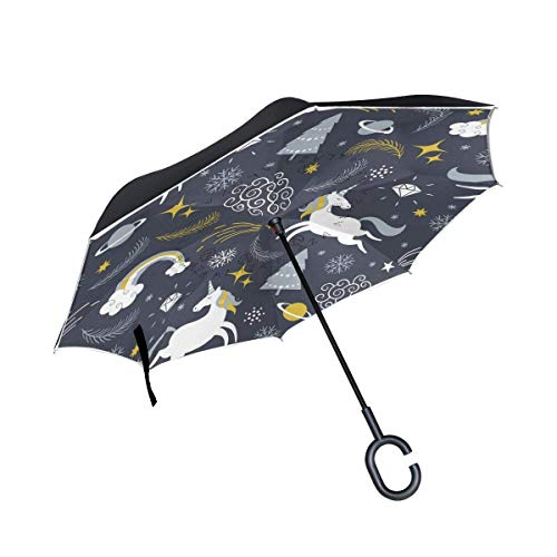 All Agree Cute Christmas Unicorn Inverted Umbrella Double Layer Windproof Uv Protection Compact Car Reverse Umbrella