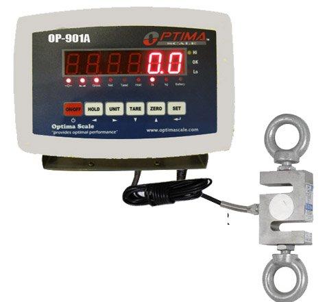 Optima Scales OP-926-2000 Digital Hanging Scale with High Precision Load Cell and Indicator, 2,000 lbs x 0.2 lb
