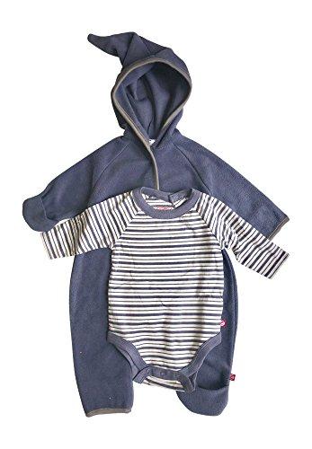 Baby Boy Hooded Fleece Bodysuit Elf Romper with Fold Over Cuffs & Long Sleeve Snap Onesie Set (Navy Blue, 18 Months) (Suit Fleece Romper)