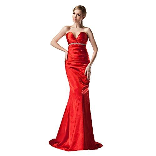 StarGirl Custom Made Womens Trumpet Mermaid V-neck Sweep Train Charmeuse Evening Dress With Ruffle Beading Red Size 16