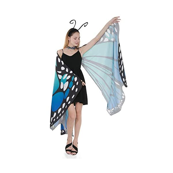 Halloween Butterfly Wing Cape with Black Antenna Headband Outerwear