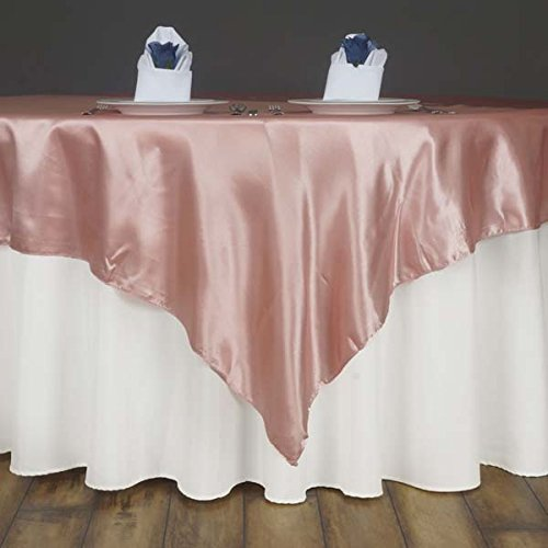 Efavormart 60'' Satin Square Tablecloth Overlay for Wedding Catering Party Table Decorations Blush Square Tablecloth Cover