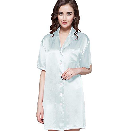 LilySilk Silk Nightshirt for Women Sleep Shirt 22 Momme Charmeuse Nightgown Button Front 100% Pure Silk XXL Light Sky Blue ()