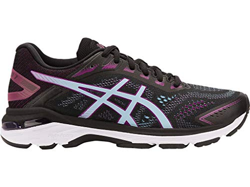 - ASICS Women's GT-2000 7 Running Shoes, 8.5M, Black/Skylight